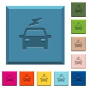 Electric car with flash engraved icons on edged square buttons in various trendy colors - Electric car with flash engraved icons on edged square buttons