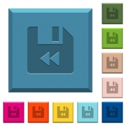 File fast backward engraved icons on edged square buttons in various trendy colors - File fast backward engraved icons on edged square buttons