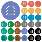 Multiple layers multi colored flat icons on round backgrounds. Included white, light and dark icon variations for hover and active status effects, and bonus shades on black backgounds. - Multiple layers round flat multi colored icons