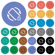 Mobile screen rotation locked multi colored flat icons on round backgrounds. Included white, light and dark icon variations for hover and active status effects, and bonus shades on black backgounds. - Mobile screen rotation locked round flat multi colored icons