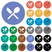 Dining multi colored flat icons on round backgrounds. Included white, light and dark icon variations for hover and active status effects, and bonus shades on black backgounds. - Dining round flat multi colored icons