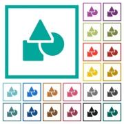 Basic geometric shapes flat color icons with quadrant frames on white background - Basic geometric shapes flat color icons with quadrant frames