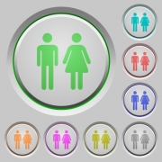 Male and female sign color icons on sunk push buttons - Male and female sign push buttons