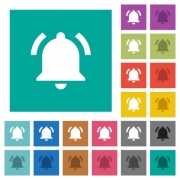 Active notification multi colored flat icons on plain square backgrounds. Included white and darker icon variations for hover or active effects. - Active notification square flat multi colored icons - Large thumbnail