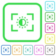Camera saturation setting vivid colored flat icons in curved borders on white background - Camera saturation setting vivid colored flat icons