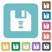 File waiting white flat icons on color rounded square backgrounds - File waiting rounded square flat icons
