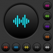 Sound wave dark push buttons with vivid color icons on dark grey background - Sound wave dark push buttons with color icons