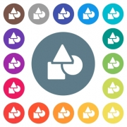 Basic geometric shapes flat white icons on round color backgrounds. 17 background color variations are included. - Basic geometric shapes flat white icons on round color backgrounds