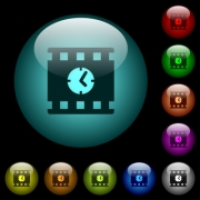 Movie playing time icons in color illuminated spherical glass buttons on black background. Can be used to black or dark templates - Movie playing time icons in color illuminated glass buttons