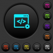 Web development dark push buttons with vivid color icons on dark grey background - Web development dark push buttons with color icons