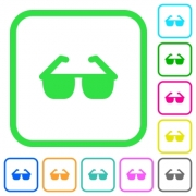Sunglasses vivid colored flat icons in curved borders on white background - Sunglasses vivid colored flat icons - Large thumbnail