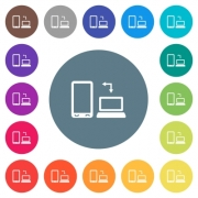 Syncronize mobile with computer flat white icons on round color backgrounds. 17 background color variations are included. - Syncronize mobile with computer flat white icons on round color backgrounds