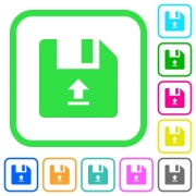 Upload file vivid colored flat icons in curved borders on white background - Upload file vivid colored flat icons - Large thumbnail