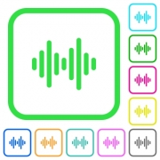 Sound wave vivid colored flat icons in curved borders on white background - Sound wave vivid colored flat icons - Large thumbnail