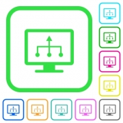 TV select source vivid colored flat icons in curved borders on white background - TV select source vivid colored flat icons - Large thumbnail