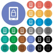 Lock mobile multi colored flat icons on round backgrounds. Included white, light and dark icon variations for hover and active status effects, and bonus shades on black backgounds. - Lock mobile round flat multi colored icons