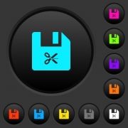 Cut file dark push buttons with vivid color icons on dark grey background - Cut file dark push buttons with color icons