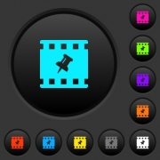 Pin movie dark push buttons with vivid color icons on dark grey background - Pin movie dark push buttons with color icons - Large thumbnail