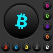 Bitcoin digital cryptocurrency dark push buttons with vivid color icons on dark grey background - Bitcoin digital cryptocurrency dark push buttons with color icons - Large thumbnail