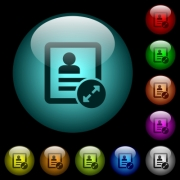 Extend contact icons in color illuminated spherical glass buttons on black background. Can be used to black or dark templates - Extend contact icons in color illuminated glass buttons