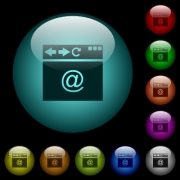 Browser email icons in color illuminated spherical glass buttons on black background. Can be used to black or dark templates - Browser email icons in color illuminated glass buttons