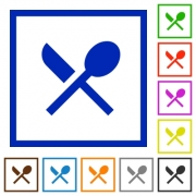 Dining flat color icons in square frames on white background - Dining flat framed icons