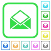 Open mail vivid colored flat icons in curved borders on white background - Open mail vivid colored flat icons