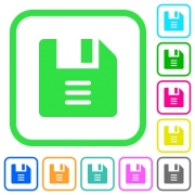 File options vivid colored flat icons in curved borders on white background - File options vivid colored flat icons