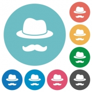Incognito flat white icons on round color backgrounds - Incognito flat round icons