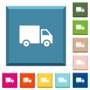 Delivery truck white icons on edged square buttons in various trendy colors - Delivery truck white icons on edged square buttons