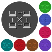 Content delivery network icons with shadows on color round backgrounds for material design - Content delivery network icons with shadows on round backgrounds