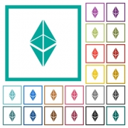 Ethereum classic digital cryptocurrency flat color icons with quadrant frames on white background - Ethereum classic digital cryptocurrency flat color icons with quadrant frames
