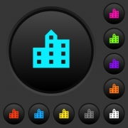 City silhouette dark push buttons with vivid color icons on dark grey background