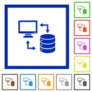 Syncronize data with database flat color icons in square frames on white background - Syncronize data with database flat framed icons