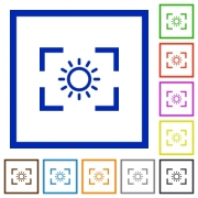 Camera brightness setting flat color icons in square frames on white background - Camera brightness setting flat framed icons - Large thumbnail