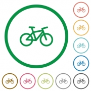 Bicycle flat color icons in round outlines on white background - Bicycle flat icons with outlines