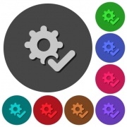 Settings ok icons with shadows on color round backgrounds for material design - Settings ok icons with shadows on round backgrounds - Large thumbnail