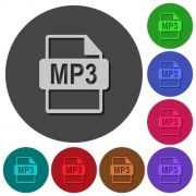 MP3 file format icons with shadows on color round backgrounds for material design - MP3 file format icons with shadows on round backgrounds - Large thumbnail