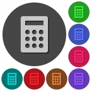 Calculator icons with shadows on color round backgrounds for material design - Calculator icons with shadows on round backgrounds - Large thumbnail