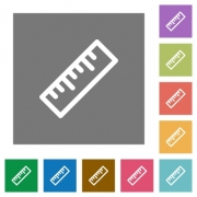 Ruler flat icons on simple color square backgrounds - Ruler square flat icons