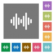 Sound wave flat icons on simple color square backgrounds - Sound wave square flat icons