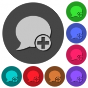 Post blog comment icons with shadows on color round backgrounds for material design - Post blog comment icons with shadows on round backgrounds - Large thumbnail