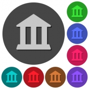 Bank office building icons with shadows on color round backgrounds for material design - Bank office building icons with shadows on round backgrounds - Large thumbnail