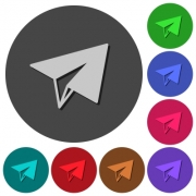 Paper plane icons with shadows on color round backgrounds for material design - Paper plane icons with shadows on round backgrounds - Large thumbnail