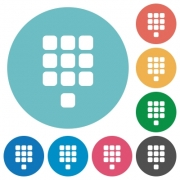 Dial pad flat white icons on round color backgrounds - Dial pad flat round icons