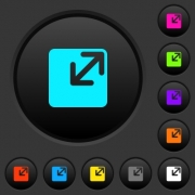 Resize window dark push buttons with vivid color icons on dark grey background - Resize window dark push buttons with color icons - Large thumbnail