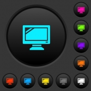 Monitor dark push buttons with vivid color icons on dark grey background - Monitor dark push buttons with color icons - Large thumbnail