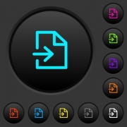 Import dark push buttons with vivid color icons on dark grey background - Import dark push buttons with color icons - Large thumbnail
