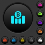 Bitcoin financial graph dark push buttons with vivid color icons on dark grey background - Bitcoin financial graph dark push buttons with color icons - Large thumbnail