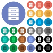 Categorize multi colored flat icons on round backgrounds. Included white, light and dark icon variations for hover and active status effects, and bonus shades on black backgounds. - Categorize round flat multi colored icons